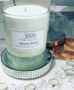 riviera breeze hand made candle from five cedars salon devon