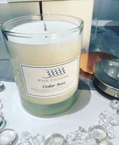 rose candle from five cedars health & beauty salon devon